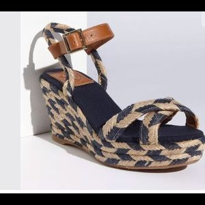 🌺🌺TORY BURCH🌺CAMELIA WOVEN WEDGES🌺10M🌺🌺
